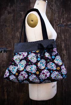 Large Black Polka Dot Sugar Skull Purse,Sugar Skull Diaper Bag, Rockabilly Purse