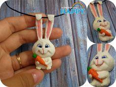 мультфильм, кролик снежок, кролик, снежок, заяц, кулон, полимерная глина, видео мк, мастер-класс, видеоурок