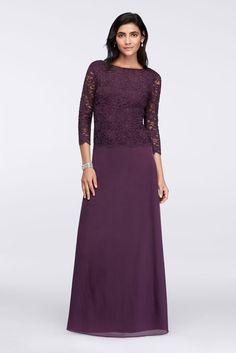 Long-Sleeve Lace Bodice Dress with Bateau Neckline Style 648693