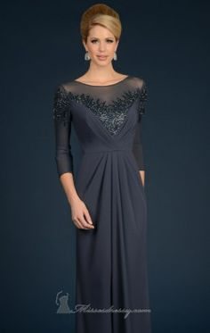 Sheer Applique Gown by Daymor Couture 707
