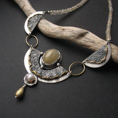 Goldilocks necklace by Anna Fidecka - Hand-formed silver, 22 carat gold, quartz, natural Japanese Akoya pearl Metal Clay Jewelry, Pendant Jewelry, Jewelry Art, Jewelry Design, Fashion Jewelry, Unique Jewelry, Jewellery, Artisan Jewelry, Handcrafted Jewelry