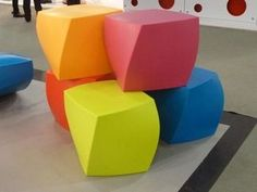 For bright colored, modern and attractive seating for children, the Heller - Frank Gehry Collection Color Twist Cube is a great solution. These cubes can be used in residential settings, day care sett Urban Furniture, Unique Furniture, Contemporary Furniture, Contemporary Design, Street Furniture, Outdoor Furniture, Outdoor Ottomans, Modern Ottoman, Low Stool