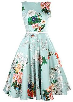 Vintage 50s Style Floral Sleeveless Swing Party Dress