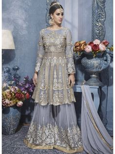 Lilac Purple Majesty Cut Embroidered Designer Flared Gharara #PalazzoSuit