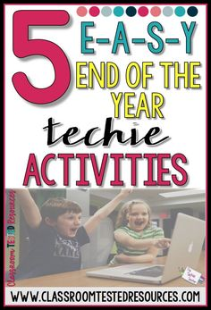 5 EASY End of the Year Technology Activities End Of Year Activities, Library Activities, Writing Activities, Classroom Activities, Classroom Ideas, Future Classroom, Educational Websites, Educational Technology, Digital Technology