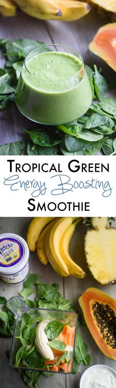 This tropical green energy smoothie recipe has my favorite secret ingredient for that extra perk without the crash! This is my go to coffee detox smoothie when I am coming off caffeine. Fruit Smoothies, Energy Smoothies, Green Smoothie Recipes, Healthy Smoothies, Healthy Drinks, Healthy Snacks, Healthy Eating, Smoothie Detox, Juice Smoothie