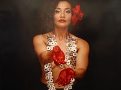 Sofia Tekala Smith, New Zealand, Indigenous Art Metallic and reflective nature of necklace causes it to stand out. Also emphasis through color. Red of the flower and paint on her hands. Elements And Principles, Elements Of Art, Indigenous Art, Jewelry Art, Jewellery, Portrait, Artist, Auckland, Photography