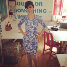 A blue and white floral Joan Dress - Sew Over It blog