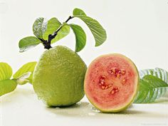 Guava fruit with leaves