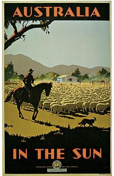 1935 Australia, In the Sun Travel Advertisement Art Picture Poster