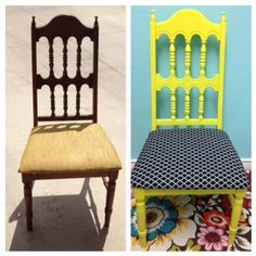Goodwill redo chair! Yellow with black and white Moroccan print! Love!