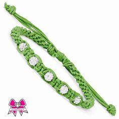 Green & White Team Color Swarovski Crystal Macrame Bracelet