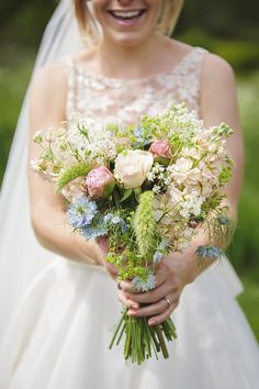Lyn Ashworth Lace And Sparkly Gold Shoes for a Pretty Cornfower Blue DIY Summer Wedding