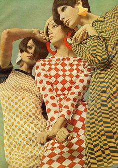 Fab apple print dress, Mademoiselle Magazine, May 1966