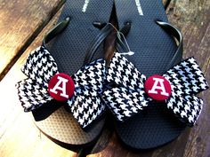 University of Alabama houndstooth bow embroidered monogrammed flip flops with bows on Etsy, Sold
