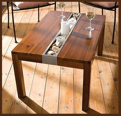 greenyourdecor.com  I love this - i'd add glass to the middle of the table and add inspirational words