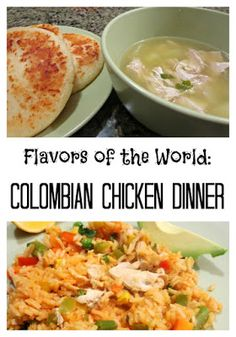 Colombian recipes: chicken and rice and chicken soup with potatoes