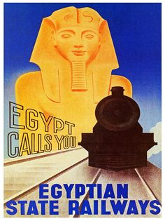 Egyptian State Railways vintage rail travel poster  Egypt Sphinx