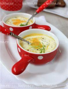 Яйца кокот с рикоттой и базиликом - рецепт с фото
