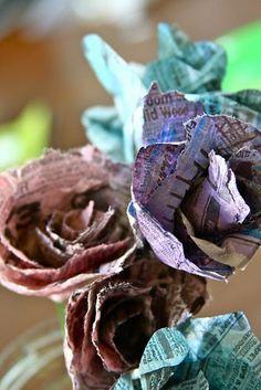 newspaper flowers