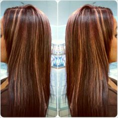 Red violet base with allover blonde streaks #hair #haircolor #matrix #regis #redhair #highlights