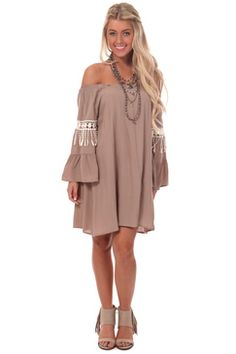 Mocha Bell Sleeve Dress with Trim Detail Brown Maxi Dresses, Cute Short Dresses, Fabulous Dresses, Brown Dress, Knee Length Dresses, Bell Sleeve Dress, Bell Sleeves, Lush Clothing, Rustic Outfits