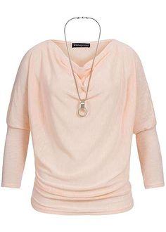 Styleboom Fashion Damen Shirt Fledermaus Ärmel Wasserfall Ausschnitt Kette rosa melange Styleboom Fashion Shirts | 77onlineshop im Online Shop preiswert kaufen
