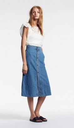 set skirt Trends, Luxury Fashion, Set Fashion, Midi Skirt, High Waisted Skirt, Jeans, Lace, Denim Skirts, Shopping