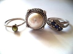 Lot of three rings sterling silver size 7-7.5 blue stone *pretty vintage rings*
