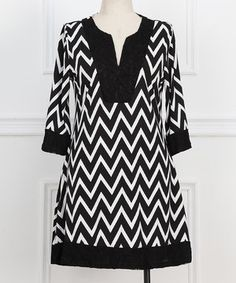 Black Zigzag Lace-Accent Notch Neck Dress - Plus by Reborn Collection #zulily #zulilyfinds