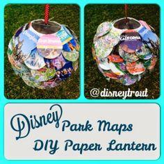 Paper Lantern made with Disney Parks maps #disneyland #waltdisneyworld #paperlantern