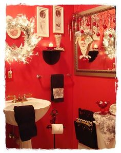 red black white christmas bathroom decor christmas xmas holiday - Pictures Of Bathrooms Decorated For Christmas