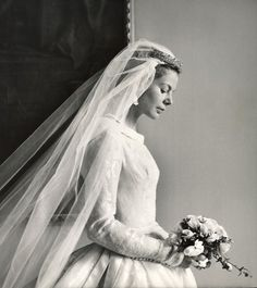 A stunning bridal portrait of Katharine Worsley, wife of Prince Edward, Duke of Kent.  Upon her marriage Katharine was styled Her Royal Highness the Duchess of Kent.  In 2002, however, she dropped that style, preferring to be known as Katharine, Duchess of Kent, or simply Katharine Kent.