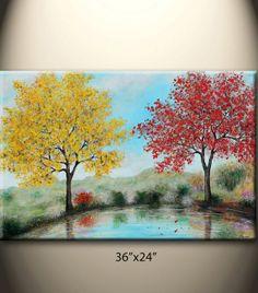 ON SALEby the laketwo big treesAutumn large original by maggyart, $158.00
