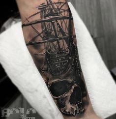 Skull & Sailing Ship Fusion http://tattooideas247.com/skull-sailing-ship/