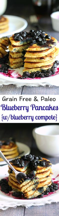Grain free and Paleo blueberry pancakes with blueberry compote - thick, fluffy paleo pancakes perfection!