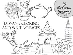 10 images (full coloring pages, two types of writing paper, 30 options) Perfect for student learning or traveling to Taiwan with children! Chinese Icon, Taiwan Flag, Line Doodles, Flag Coloring Pages, Flag Colors, Writing Paper, Taipei, B & B, Student Learning