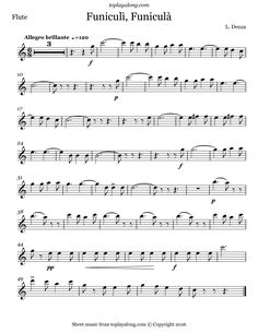 Funiculì, Funiculà by Denza. Free sheet music for flute. Visit toplayalong.com and get access to hundreds of scores for flute with backing tracks to playalong.