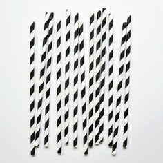 pailles en papier blanches avec rayure noire
