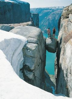 Lysefjord, Norway. *Are they serious!* A little too close to the edge for me. lol.