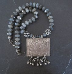 Vintage India Silver Pendant and Labradorite Bead by GEMILAJewels