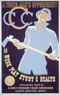 A recruiting poster, for young unmarried, and unemployed men to join the program.