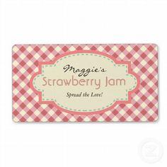 Customizable Gingham Jam Jar Labels