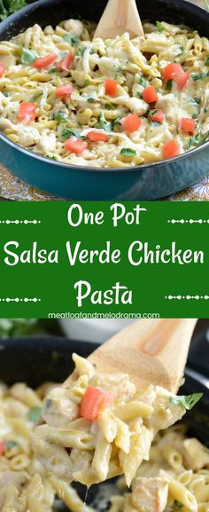 One Pot Salsa Verde Chicken Pasta - A quick and easy 30 minute dinner made with chicken, pasta and cheese in a creamy green chile sauce. Super easy clean up, too!