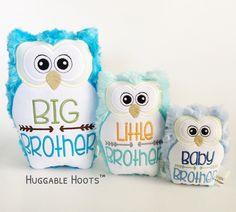 Stuffed Owl (Brothers Set x - Plush Owl - Stuffed Animal - Big Brother - Little Bro - Baby Brother - Owl Pillow - Sibling Gifts - Newborn by TheHuggableHoots on Etsy New Sibling Gifts, New Baby Gifts, Owl Pillow, Owl Pet, Stuffed Owl, Siblings, New Baby Products, Brother, Plush