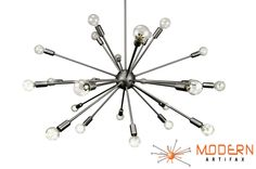 Sputnik Atomic Lamp Mid Century Light Chandelier Satin Steel 50's Modern Eames Retro by ModernArtifaxSputnik on Etsy