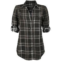 Shirt, Sprayed Checkshirt, Black Premium by EMP - Sweden Rock Shop, 399 SEK