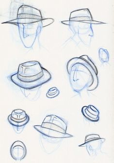 Hat Drawing Sketches Deviantart New Ideas Drawing Practice, Drawing Skills, Drawing Techniques, Drawing Sketches, Drawing Ideas, Sketching, Drawing Hats, Drawing Clothes, Drawing Expressions