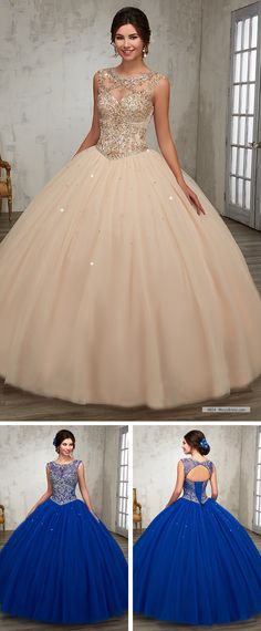 Mary's Quinceanera Style 4804 • Tulle quinceanera ball gown with bateau neck line, beading detail on bodice, basque waist line, and back with cut-out and lace-up closure.