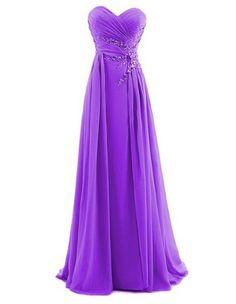 Amazon.com: Dresstells Women's Sweetheart Beading Floor-length Chiffon Prom Dress | Purple